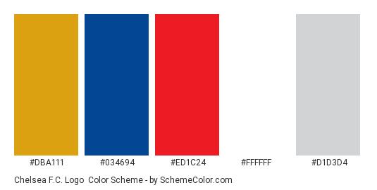 Chelsea F.C. Logo - Color scheme palette thumbnail - #dba111 #034694 #ed1c24 #ffffff #d1d3d4
