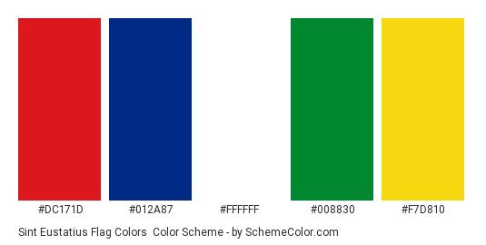 Sint Eustatius Flag Colors - Color scheme palette thumbnail - #dc171d #012a87 #ffffff #008830 #f7d810