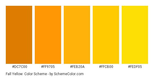 Fall Yellow - Color scheme palette thumbnail - #dc7c00 #ff9705 #feb20a #ffcb00 #fedf05