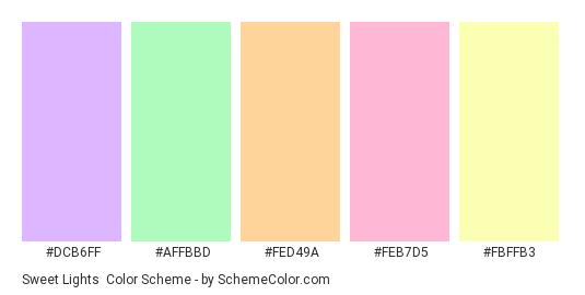 Sweet Lights - Color scheme palette thumbnail - #dcb6ff #affbbd #fed49a #feb7d5 #fbffb3