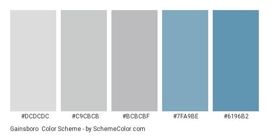 Gainsboro - Color scheme palette thumbnail - #dcdcdc #c9cbcb #bcbcbf #7fa9be #6196b2