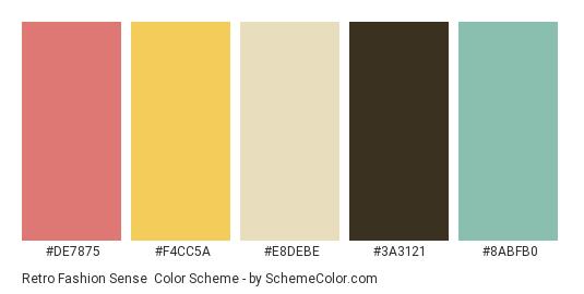 Retro Fashion Sense - Color scheme palette thumbnail - #de7875 #f4cc5a #e8debe #3a3121 #8abfb0