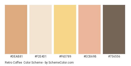 Retro Coffee - Color scheme palette thumbnail - #deab81 #f2e4d1 #f6d789 #ecb69b #756556