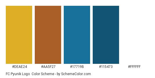 FC Pyunik Logo - Color scheme palette thumbnail - #deae24 #aa5f27 #17719b #115473 #ffffff