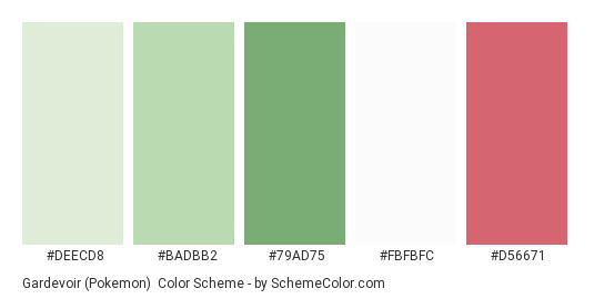 Gardevoir (Pokemon) - Color scheme palette thumbnail - #deecd8 #badbb2 #79ad75 #fbfbfc #d56671
