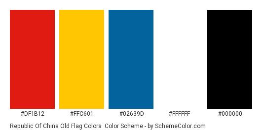 Republic Of China Old Flag Colors - Color scheme palette thumbnail - #df1b12 #ffc601 #02639d #ffffff #000000