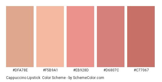 Cappuccino Lipstick - Color scheme palette thumbnail - #dfa78e #f5b9a1 #eb928d #d6807c #c77067
