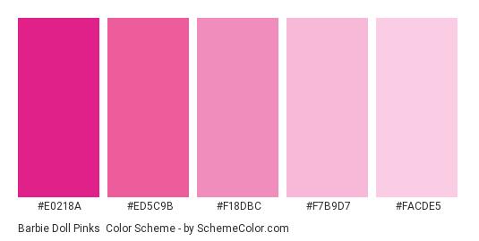 Barbie Doll Pinks - Color scheme palette thumbnail - #e0218a #ed5c9b #f18dbc #f7b9d7 #facde5