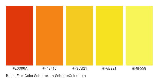 Bright Fire - Color scheme palette thumbnail - #e0380a #f48416 #f3cb21 #f6e221 #f8f558