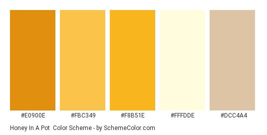 Honey In a Pot - Color scheme palette thumbnail - #e0900e #fbc349 #f8b51e #fffdde #dcc4a4