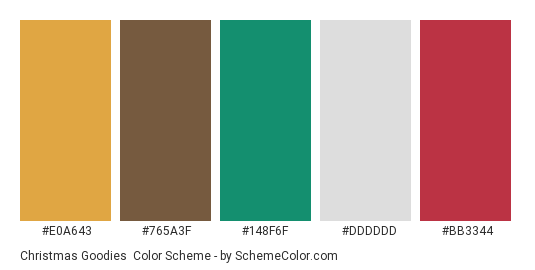 Christmas Goodies - Color scheme palette thumbnail - #e0a643 #765a3f #148f6f #dddddd #bb3344