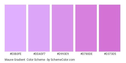 Mauve Gradient - Color scheme palette thumbnail - #e0b0fe #dda5f7 #d993e9 #d780de #d373d5