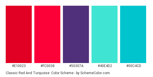 Classic Red and Turquoise - Color scheme palette thumbnail - #e10023 #fc0038 #50307a #40e4d2 #00c4cd