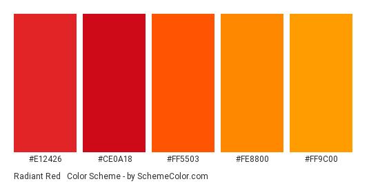 Radiant Red & Orange - Color scheme palette thumbnail - #e12426 #ce0a18 #ff5503 #fe8800 #ff9c00