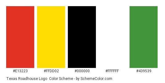 Texas Roadhouse Logo - Color scheme palette thumbnail - #e13223 #ffdd02 #000000 #ffffff #439539