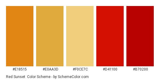 Red Sunset - Color scheme palette thumbnail - #e18515 #e0aa3d #f0ce7c #d41100 #b70200