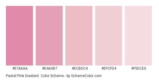 Pastel Pink Gradient - Color scheme palette thumbnail - #e18aaa #e4a0b7 #ecbdc4 #efcfd4 #f5dce0