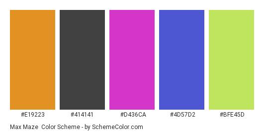 Max Maze - Color scheme palette thumbnail - #e19223 #414141 #d436ca #4d57d2 #bfe45d