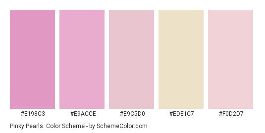 Pinky Pearls - Color scheme palette thumbnail - #e198c3 #e9acce #e9c5d0 #ede1c7 #f0d2d7