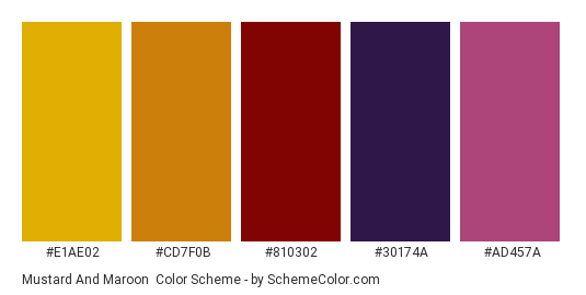 Mustard and Maroon - Color scheme palette thumbnail - #e1ae02 #cd7f0b #810302 #30174a #ad457a