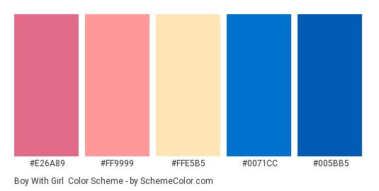Boy With Girl - Color scheme palette thumbnail - #e26a89 #ff9999 #ffe5b5 #0071cc #005bb5
