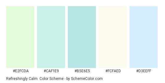 Refreshingly Calm - Color scheme palette thumbnail - #e2fcda #caf1e9 #b5e6e5 #fcfaed #d3eeff