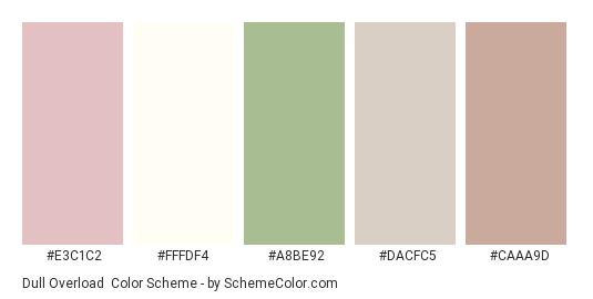 Dull Overload - Color scheme palette thumbnail - #e3c1c2 #fffdf4 #a8be92 #dacfc5 #caaa9d