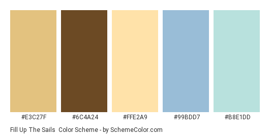 Fill Up The Sails - Color scheme palette thumbnail - #e3c27f #6c4a24 #ffe2a9 #99bdd7 #b8e1dd