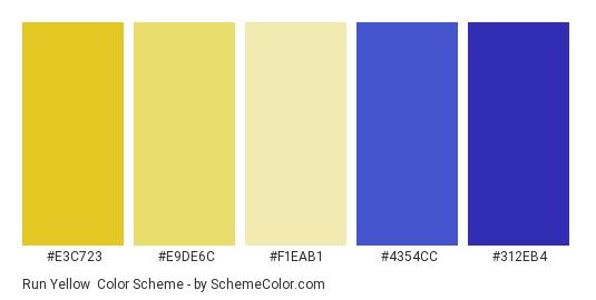 Run Yellow - Color scheme palette thumbnail - #e3c723 #e9de6c #f1eab1 #4354cc #312eb4