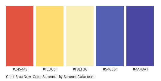 Can't Stop Now - Color scheme palette thumbnail - #e45443 #fedc6f #f8efb6 #5460b1 #4a48a1