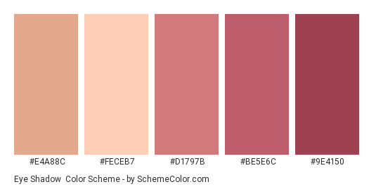 Eye Shadow - Color scheme palette thumbnail - #e4a88c #feceb7 #d1797b #be5e6c #9e4150