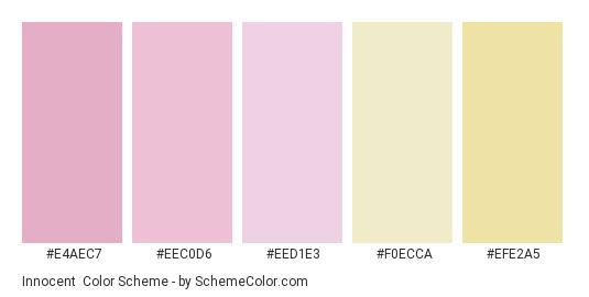 Innocent - Color scheme palette thumbnail - #e4aec7 #eec0d6 #eed1e3 #f0ecca #efe2a5