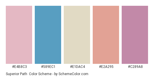 Superior Path - Color scheme palette thumbnail - #e4b8c3 #589ec1 #e1dac4 #e2a295 #c289a8