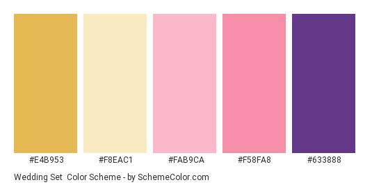 Wedding Set - Color scheme palette thumbnail - #e4b953 #f8eac1 #fab9ca #f58fa8 #633888