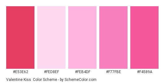 Valentine Kiss - Color scheme palette thumbnail - #e53e62 #fed8ef #feb4df #f77fbe #f4589a