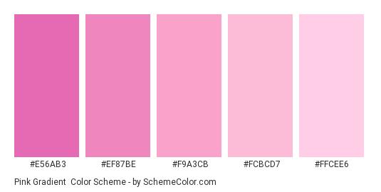 Pink Gradient - Color scheme palette thumbnail - #e56ab3 #ef87be #f9a3cb #fcbcd7 #ffcee6