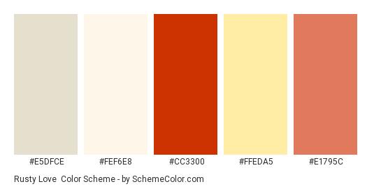 Rusty Love - Color scheme palette thumbnail - #e5dfce #fef6e8 #cc3300 #ffeda5 #e1795c