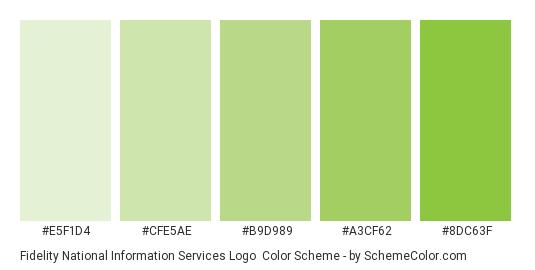 Fidelity National Information Services Logo - Color scheme palette thumbnail - #e5f1d4 #cfe5ae #b9d989 #a3cf62 #8dc63f