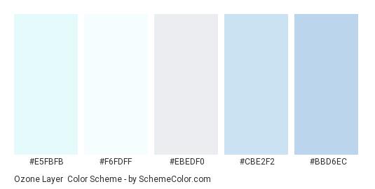 Ozone Layer - Color scheme palette thumbnail - #e5fbfb #f6fdff #ebedf0 #cbe2f2 #bbd6ec