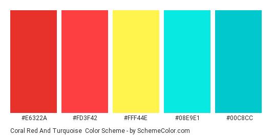 Coral Red and Turquoise - Color scheme palette thumbnail - #e6322a #fd3f42 #fff44e #08e9e1 #00c8cc
