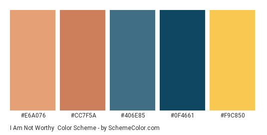 I Am Not Worthy - Color scheme palette thumbnail - #e6a076 #cc7f5a #406e85 #0f4661 #f9c850