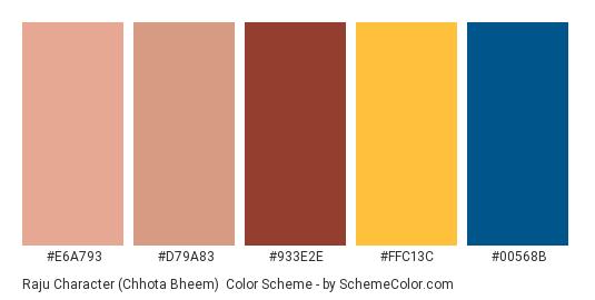 Raju Character (Chhota Bheem) - Color scheme palette thumbnail - #e6a793 #d79a83 #933e2e #ffc13c #00568b