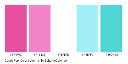 Candy Pop - Color scheme palette thumbnail - #e74f9c #f184c8 #fefefe #a3eff9 #50d4d5