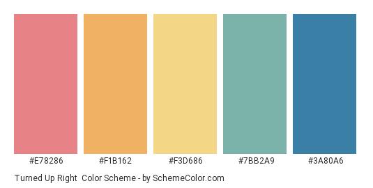 Turned up Right - Color scheme palette thumbnail - #e78286 #f1b162 #f3d686 #7bb2a9 #3a80a6