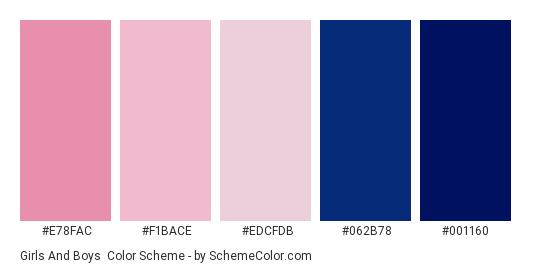 Girls and Boys - Color scheme palette thumbnail - #e78fac #f1bace #edcfdb #062b78 #001160