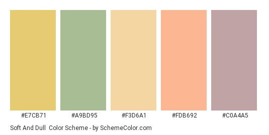 Soft and Dull - Color scheme palette thumbnail - #e7cb71 #a9bd95 #f3d6a1 #fdb692 #c0a4a5
