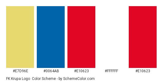FK Krupa Logo - Color scheme palette thumbnail - #e7d96e #0064ab #e10623 #ffffff #e10623