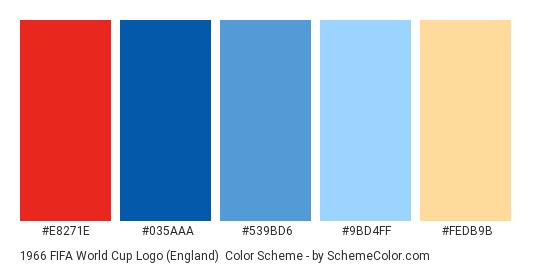 1966 FIFA World Cup Logo (England) - Color scheme palette thumbnail - #e8271e #035aaa #539bd6 #9bd4ff #fedb9b