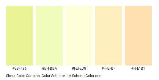 Sheer Color Curtains - Color scheme palette thumbnail - #e8f496 #effbba #fefed8 #ffefbf #ffe1b1