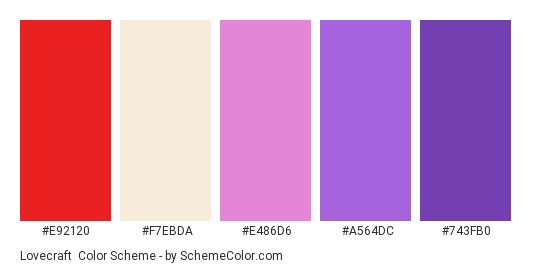 Lovecraft - Color scheme palette thumbnail - #e92120 #f7ebda #e486d6 #a564dc #743fb0